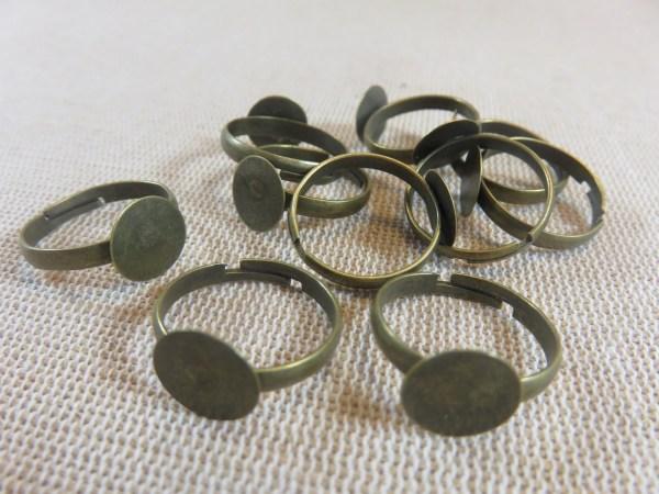 Supports bague bronze à plateau métal 18x10mm - lot de 10