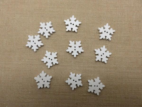 Boutons flocon de neige blanc en bois 18mm couture noël - lot de 10