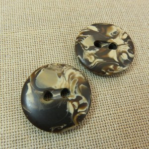 Boutons marron marbré rond 28mm UnionKnopf – lot de 2