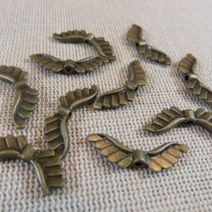 Perles ailes d'ange bronze 24mm en métal – lot de 10