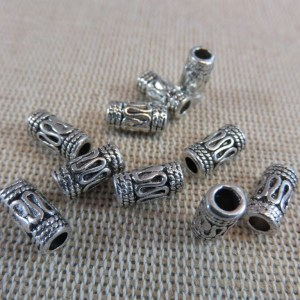 Perles colonne métal gravé ethnique 10mm x 5mm – lot de 20