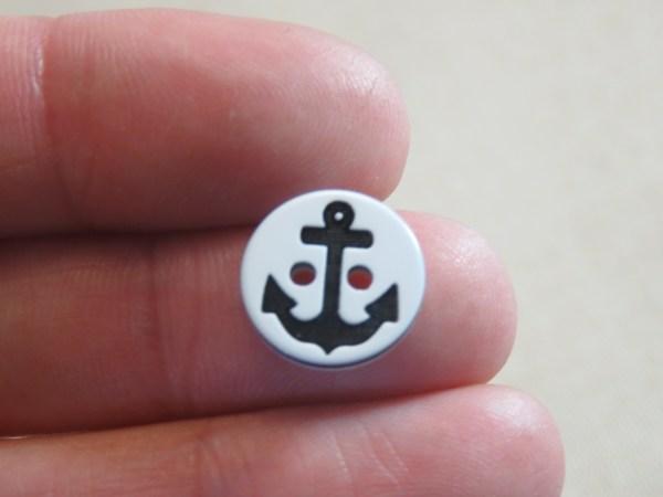 Boutons petit marin ancre noir 13mm layette bébé - lot de 10