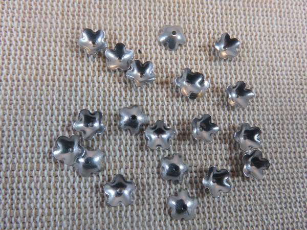Coupelles fleur acier inoxydable 6mm argenté - lot de 25
