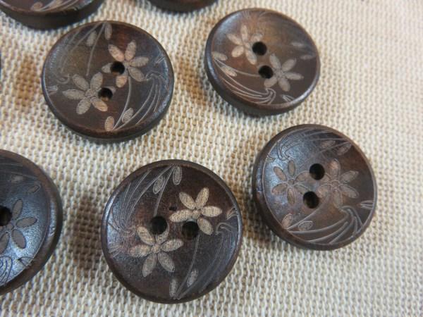 Boutons en bois fleur gravé 20mm bouton de couture - lot de 8
