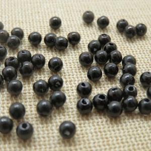 Perles noir 4mm acrylique pour bijoux – lot de 50