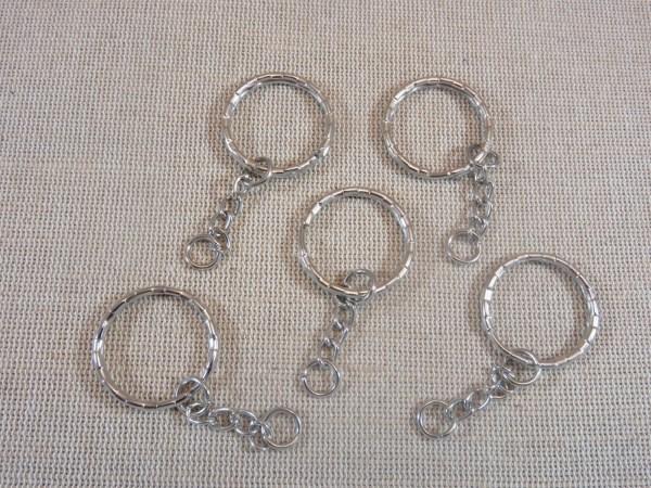 Porte-clés argenté à anneaux 53mm - lot de 5