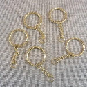 Porte-clés Or à anneaux 53mm – lot de 5