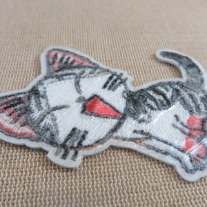 Ecusson chat kawaii thermocollant patch chat manga brodé pour vêtement