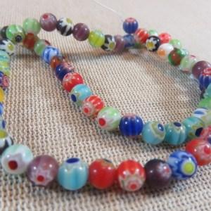 Perles verre fleuri lampwork 6mm ronde Hippie – lot de 20