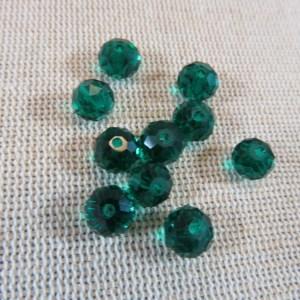 Perles de verre facetté vert malachite 8mm – lot de 10