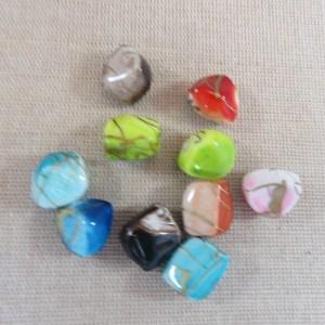 Perles multicolore effet pierre en acrylique tréfilé doré - lot de 10