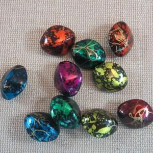 Perles ovale navette acrylique multicolore 17mm – lot de 10
