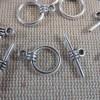 Fermoirs Toggles argenté vieilli style antique bracelet - lot de 10