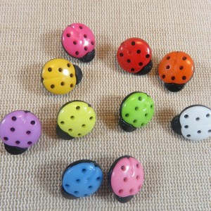 Boutons coccinelle multicolore 15mm en acrylique – lot de 10