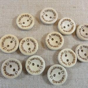 Boutons en bois gravé Handmade bouton de couture - lot de 20