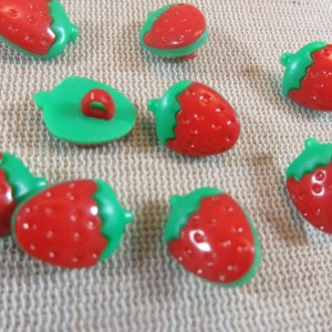 Boutons fraise rouge 15mm bouton de couture fruit – lot de 10