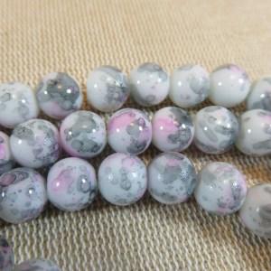 Perles tacheté fleuri rose gris 8mm ronde – lot de 20 billes de verre