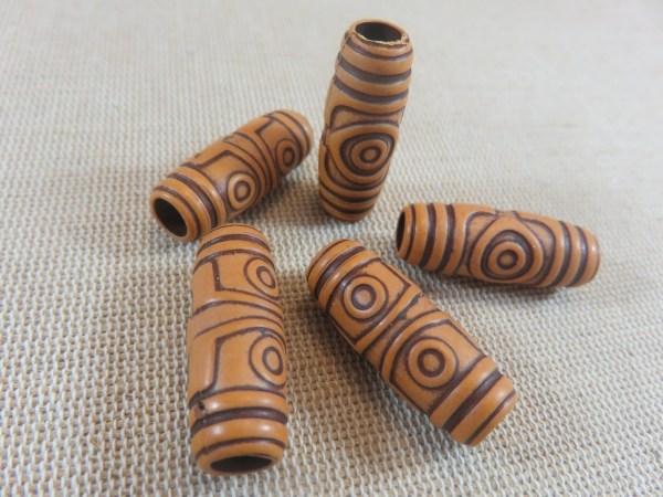 Perles colonne gravé œil acrylique effet bois 27x11mm - lot de 5