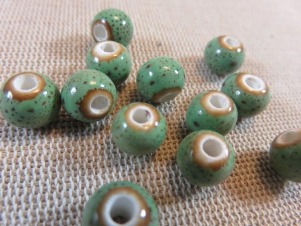 Perles céramique verte 8mm ronde - lot de 10