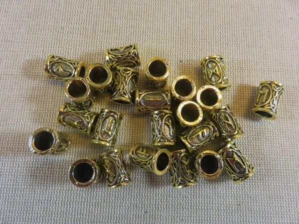 Perle rune viking or vieilli en métal 13x9mm - perle de barbe et cheveux dreadlocks