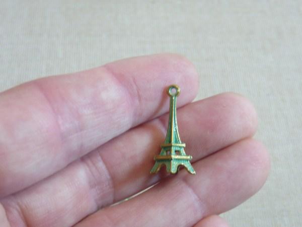 Pendentifs Tour Eiffel métal bronze patiné 23mm - lot de 5