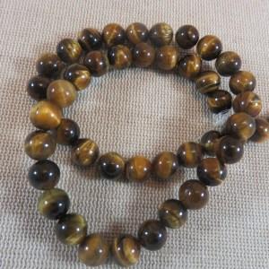 Perles œil de tigre 8mm ronde pierre de gemme - lot de 10