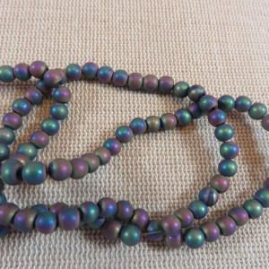 Perles hématite arc-en-ciel 4mm ronde – lot de 20
