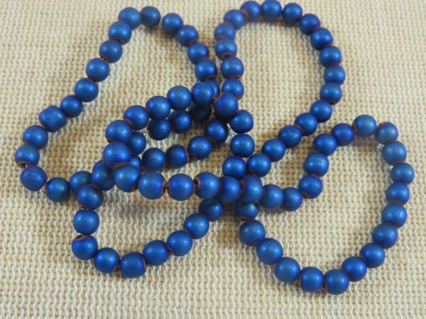 Perles hématite bleu 4mm ronde - lot de 20