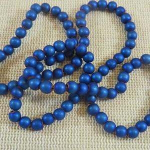 Perles hématite bleu 4mm ronde – lot de 20