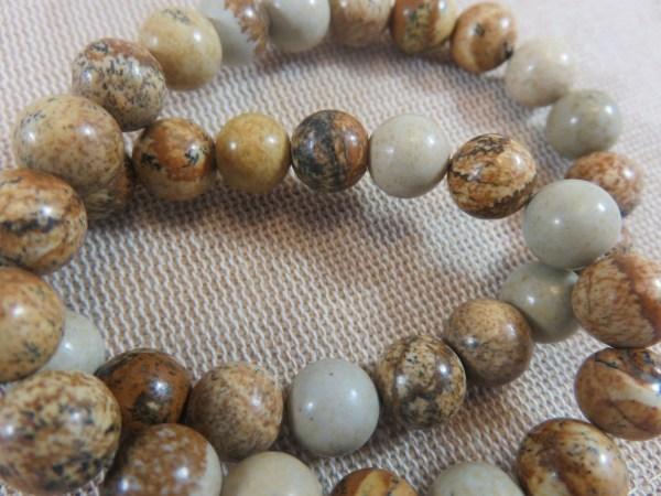 Perles Jaspe 8mm marron crème ronde - lot de 10 pierre gemme