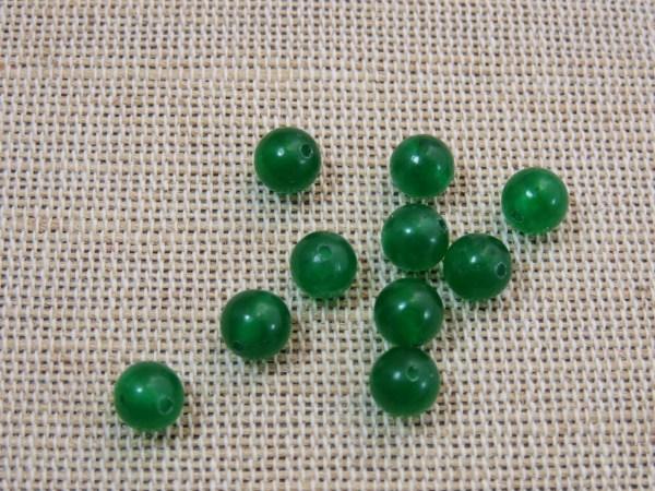 Perles jade 6mm verte ronde - lot de 10 pierre de gemme
