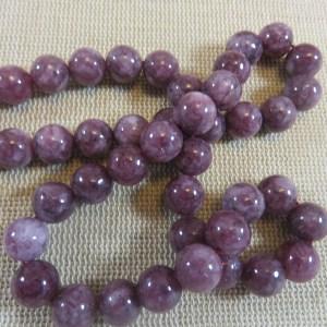 Perles Lépidolite 8mm ronde pierre de gemme - lot de 10