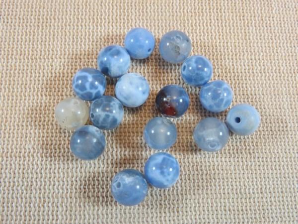 Perles Agate 8mm bleu craquelé feu ronde - lot de 10 Pierre de gemme