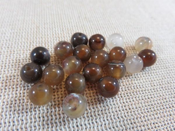 Perles Agate marron 6mm ronde pierre de gemme - lot de 10
