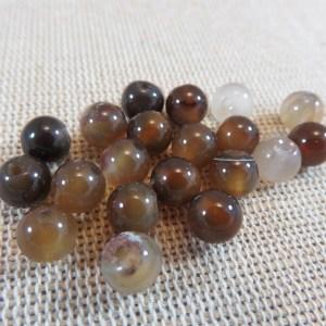 Perles Agate marron 6mm ronde pierre de gemme – lot de 10