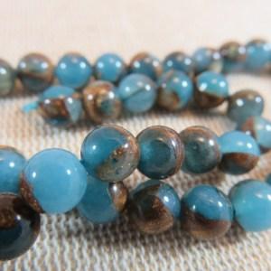 Perles Jaspe bleu or 6mm cloisonné ronde pierre de gemme lac marin – lot de 10