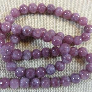 Perles Lépidolite 6mm ronde – lot de 15 Pierre de gemme