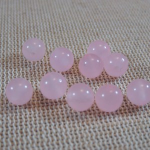 Perles agate rose 6mm pierre de gemme – lot de 10