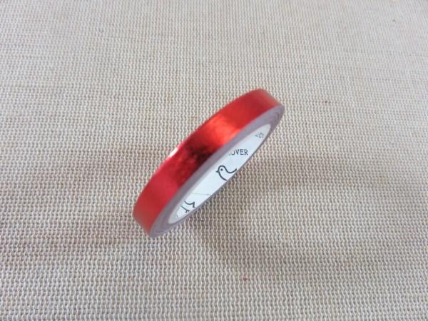 Washi tape rouge laser brillant 5mm - papier adhésif 5 mètres