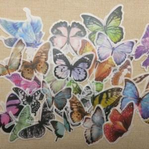 Stickers autocollant Papillon scrapbooking – étiquettes papier pour décoration / 30pcs
