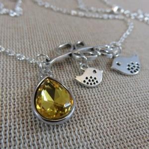 Collier oiseaux mère fille perle goutte verre jaune – cadeaux bijoux femme