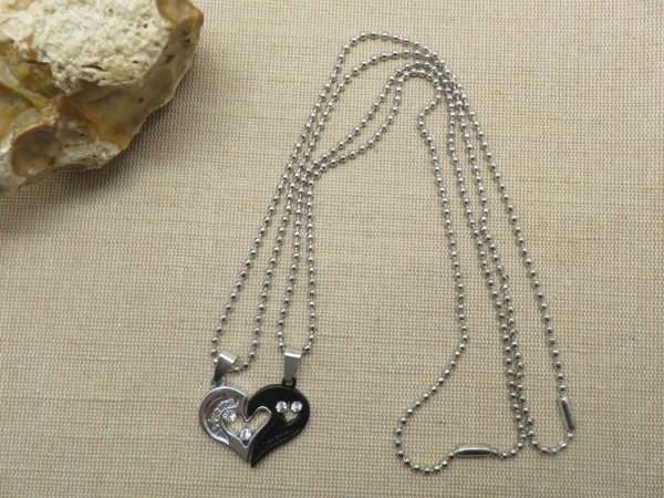 Collier de couple cœur yin yang argenté noir - cadeaux bijoux de couple