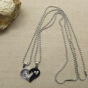 Collier de couple cœur yin yang argenté noir – cadeaux bijoux de couple