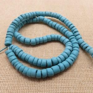 Perles rondelle bleu heishi bois noix de coco 6mm – lot de 25