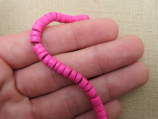 Perles rondelle rose fuchsia heishi bois noix de coco 6mm - lot de 25