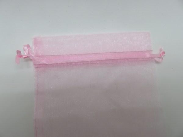 Sachets organza rose 15x10cm emballage cadeau - lot de 5