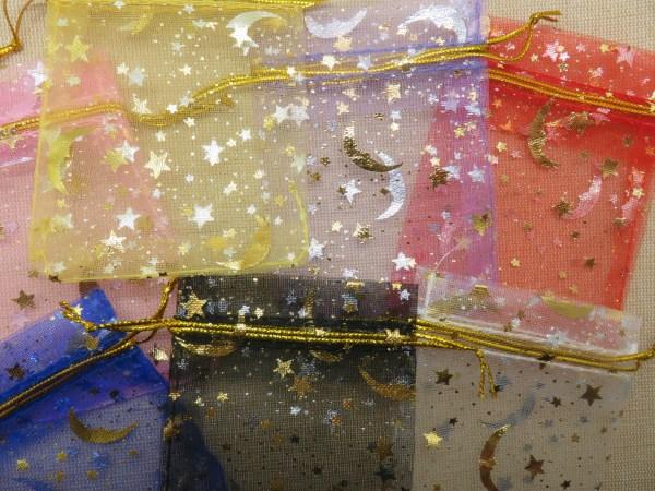 Sachets organza multicolore lune étoile doré 9cmx7cm - lot de 10