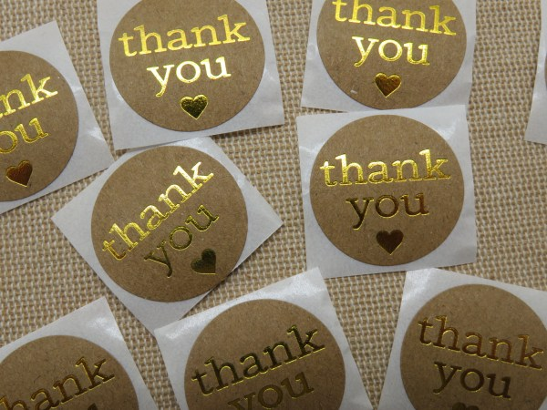 Étiquettes Thank You autocollante cœur doré - lot de 25 stickers rond 25mm