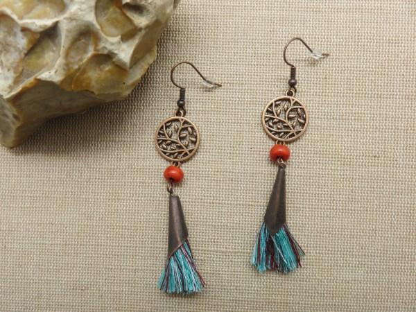 boucles d'oreille arbre de vie pompon bohème - bijoux femme