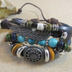 Bracelet Amérindien plume aile perles – bijoux mixte bohème